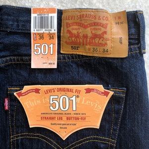 NWT Levi's Original Fit 501 Button Fly 36 X 34